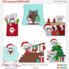 Night Before Christmas Mice Layered Element Templates