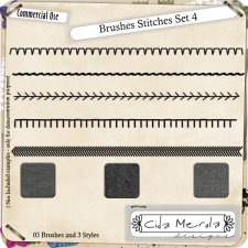 Brushes Stitches Set 4 by Cida Merola