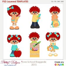 I Love School Raggedy Element Templates