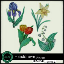EXCLUSIVE Handdrawn Flowers by Happy Scrap Arts