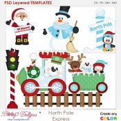 North Pole Express Layered Element Templates