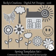 Spring Element Templates Set 1 - FS-CU-PSD-PNG-Beckys Creations