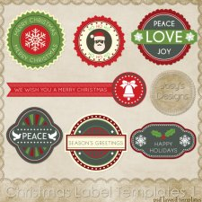 Christmas Label Layered Templates by Josy