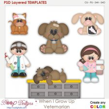 When I Grow Up Veterinarian Layered Element Templates