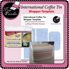 International Coffee Tin Wrap TEMPLATE by Boop Printable Designs