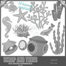 Under the Sea Templates 2 CU4CU by Scrap and Tubes