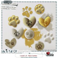 I Woof U 2-Paws Combo: Actions, Templates, Brush, Shape & Embellishments