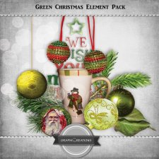 Green Christmas elements pack by Graphic Creations