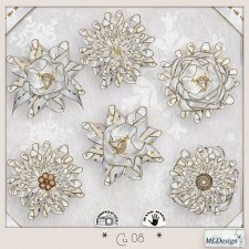 CU set 08 Christmas Rosettes flowers by MLDesigns