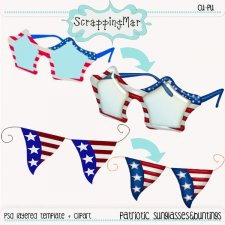 Patriotic Sunglasses and Bounting Template - Clipart by ScrapingMar