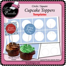 Cupcake Topper TEMPLATES - round-square by Boop Printables