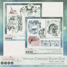 Vintage Christmas Stamps Duet by SnickerdoodleDesigns