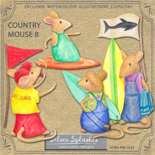 EXCLUSIVE Country Mouse 8 Watercolour by Silver Splashes