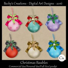 Christmas Bauble Ornaments - Png - By Beckys Creations