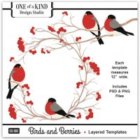 Birds and Berries Layered Templates