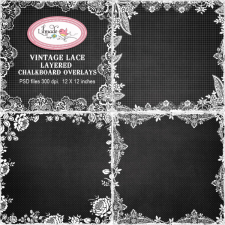 Vintage lace layered overlays chalkboard overlays Lilmade Designs