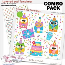 Birthday Owls Template COMBO Set