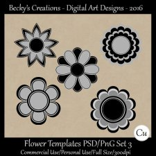 Flower Templates Set 3 PSD-PNG-Becky's Creations