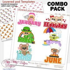 Monthly Calendar 1 Layered Word Templates & Pattern Overlays COMBO