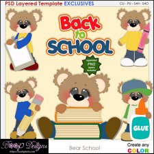Bear School- EXCLUSIVE Layered TEMPLATES