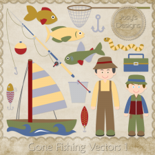 Gone Fishing Layered Vector Templates by Josy
