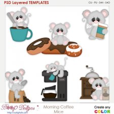 Morning Coffee Mice Layered Element Templates