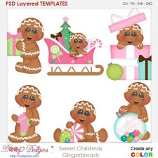 Sweet Christmas Gingerbread Layered Element Templates