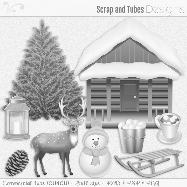 Winter Grayscale Elements and Templates (CU4CU) by Scrap and Tubes