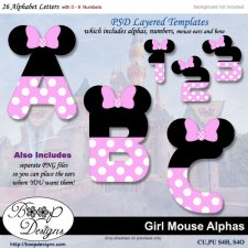 Girl Mouse Alpha & Number TEMPLATE Set by Boop Designs