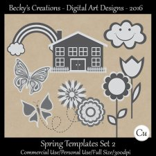 Spring Element Templates Set 2 - FS-CU-PSD-PNG-Beckys Creations