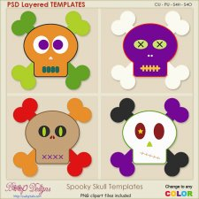 Spooky Skull Layered TEMPLATES