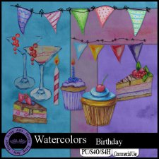 EXCLUSIVE Watercolors Birthday kit by Happy Scrap Arts