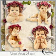 Vintage cherubs with roses by Cajoline-Scrap