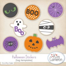 Halloween Stickers Layered Templates by Kim Cameron