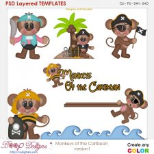 Monkeys of the Caribean Version 1 Layered Element Templates