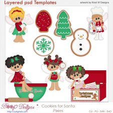 Cookies for Santa Pixies Layered Templates COMBO Set