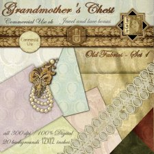 Grandmother's Chest old fabric 1 by Cari Lopez