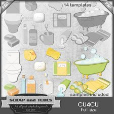Bathroom Templates CU4CU by Scrap and Tubes