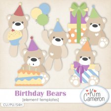 Birthday Bears Templates by Kim Cameron
