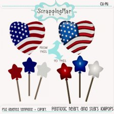 Patriotic Heart and Stars Template - Clipart by ScrapingMar