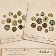 Vintage Buttons Duo 1 by SnickerdoodleDesigns