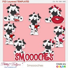 Smooches Moo Cow Valentine Layered Element Templates
