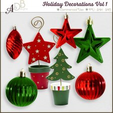 Holiday Decorations - Christmas Elements Vol 01 by ADB Designs