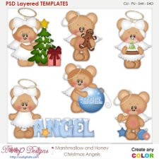 Christmas Bear Angels Layered Element Templates