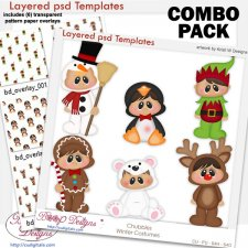 Chubbies Kids Winter Costumes Layered Template COMBO Set