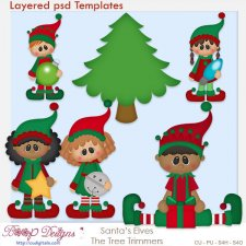 Santa's Elves Tree Trimmers Layered Template COMBO Pack