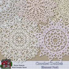 Crochet Doilies Element Pack by Karen Stimson