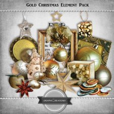 Gold Christmas elements pack by Graphic Creations