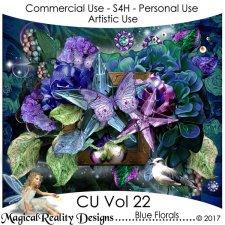 Blue Florals - CU Vol 22 by MagicalReality Designs