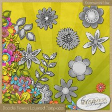 Doodle Flower Layered Templates EXCLUSIVE by Kristmess